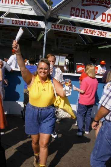 Connie Wallner spots me taking her picture at Fletcher's Corny Dog stand