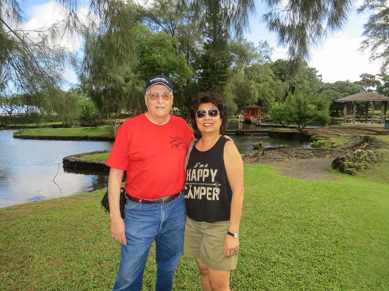 Angie and I at Liliuokalani Park and Gardens in Hilo Bay